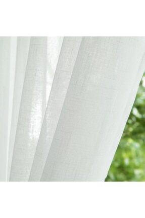 Taç Kaliteks Home Keten Görünümlü Kullanıma Hazır Düz Ekru Tül Perde 200x250 1