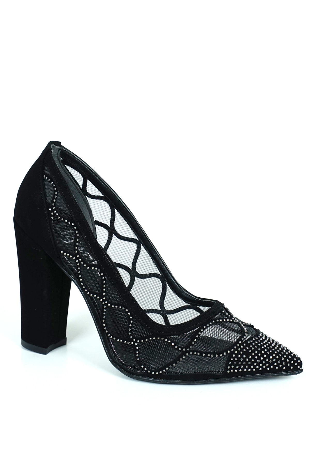 ladypabuc Kadın Stiletto Sindirella Siyah Süet Lazer Detaylı Topuklu Ayakkabı