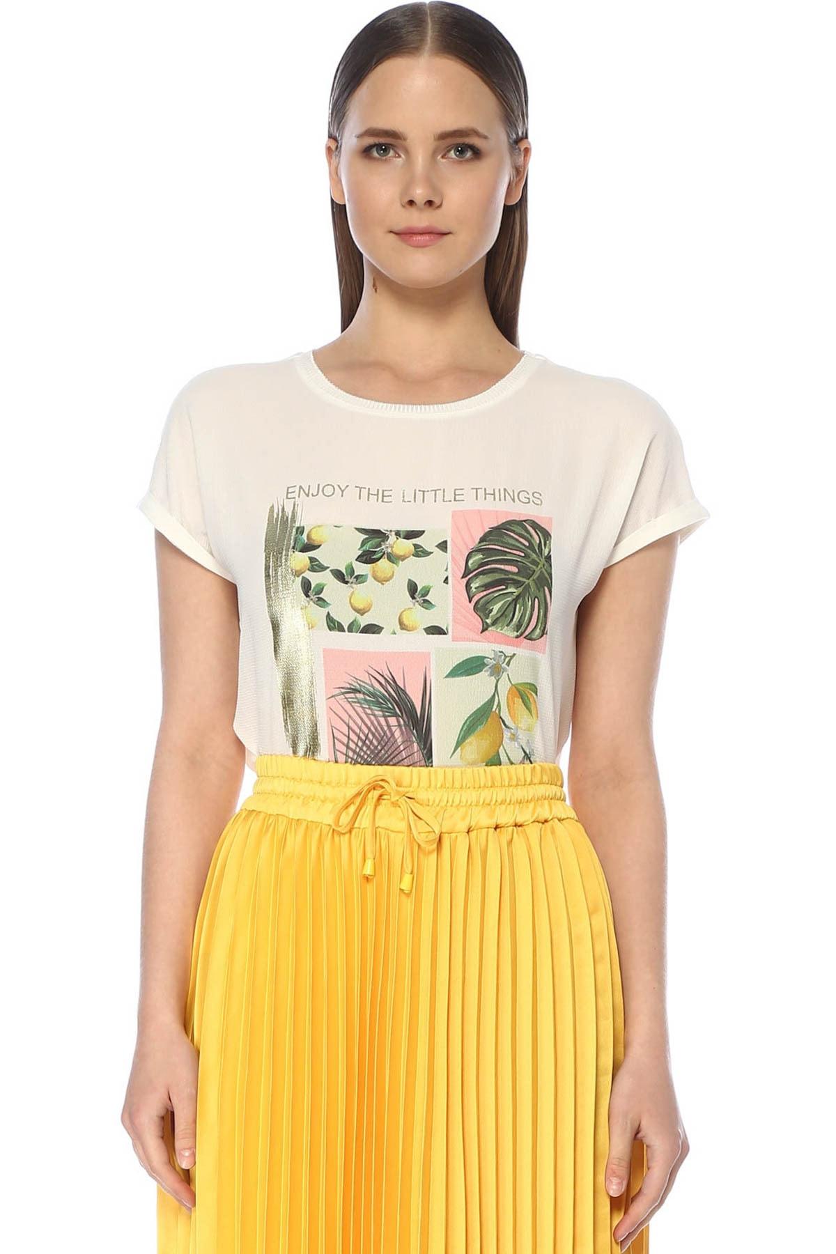 Kadın Regular Fit Ekru Tshirt 1073768