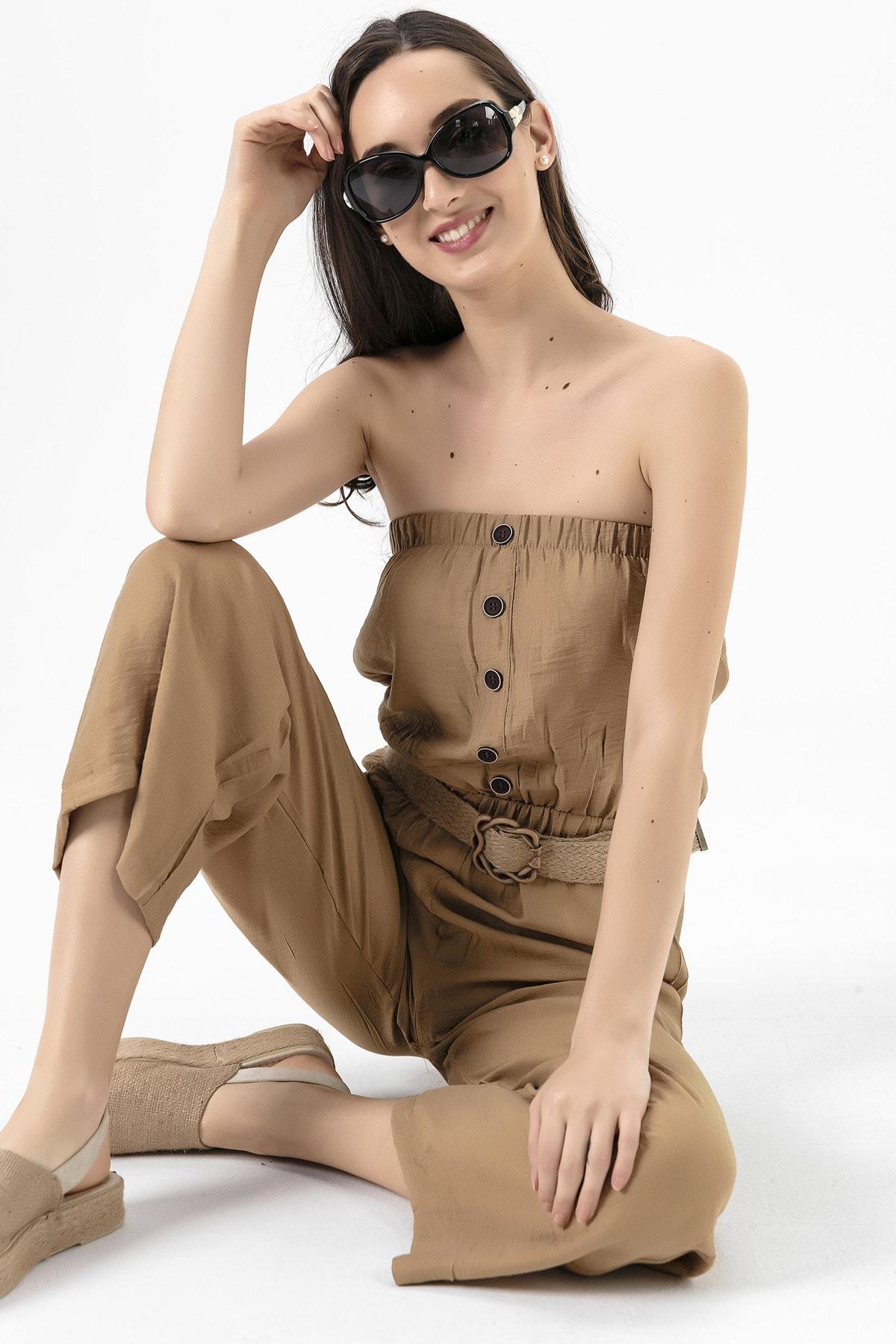 EMJEY Kadın Camel Straplez Uzun Tulum She020B010342 0