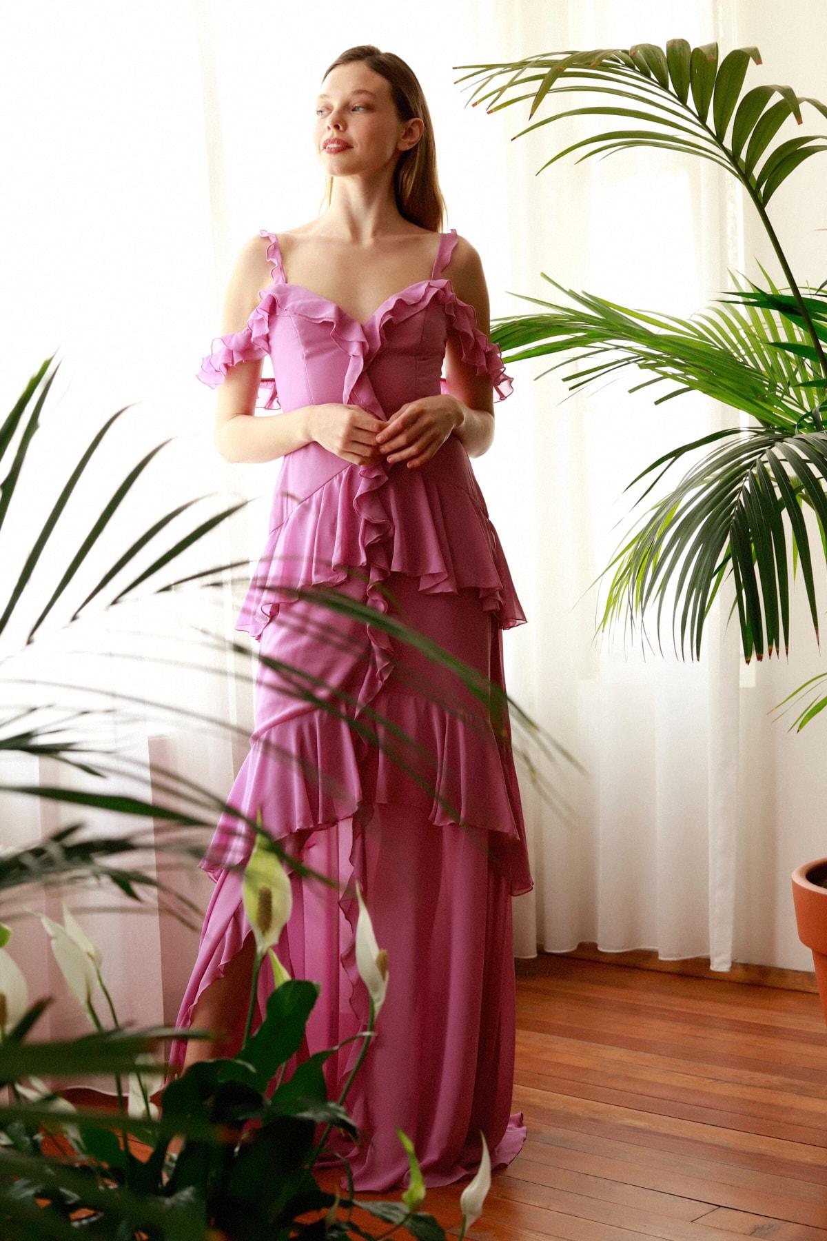 Pembe Fırfır Detaylı  Abiye & Mezuniyet Elbisesi TPRSS20AE0229