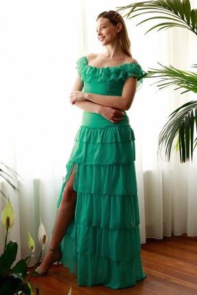 TRENDYOLMİLLA Mint Fırfır Detaylı  Abiye & Mezuniyet Elbisesi TPRSS20AE0224 0
