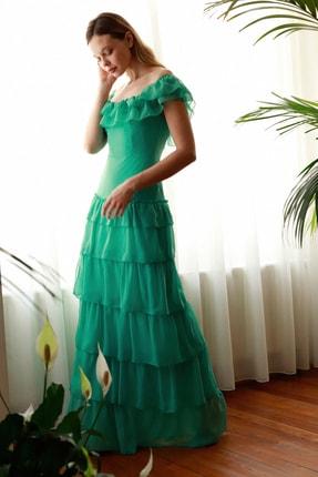 TRENDYOLMİLLA Mint Fırfır Detaylı  Abiye & Mezuniyet Elbisesi TPRSS20AE0224 1