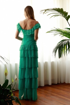 TRENDYOLMİLLA Mint Fırfır Detaylı  Abiye & Mezuniyet Elbisesi TPRSS20AE0224 4