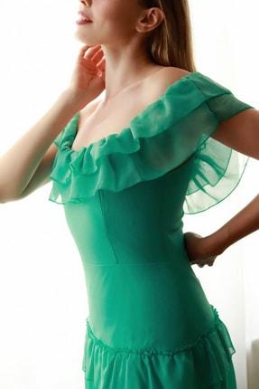 TRENDYOLMİLLA Mint Fırfır Detaylı  Abiye & Mezuniyet Elbisesi TPRSS20AE0224 2