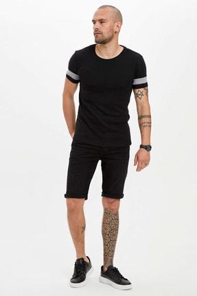 Defacto Erkek Siyah Bisiklet Yaka Kısa Kollu Slim Fit Tişört 1