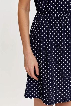 Defacto Kadın Çivit Mavisi Çiçek Desenli Belden Bağlama Detaylı Örme Elbise M9053AZ.20SM.IN59 2
