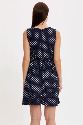 Defacto Kadın Çivit Mavisi Çiçek Desenli Belden Bağlama Detaylı Örme Elbise M9053AZ.20SM.IN59 3