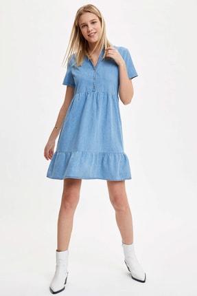 Defacto Kadın Mavi Pile Detaylı Düğmeli Regular Fit Jean Elbise O0424AZ.20SM.NM39 1
