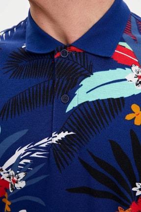 Defacto Erkek Çivit Mavisi Çiçek Desenli Slim Fit Polo T-Shirt N1792AZ.20SM.IN75 3