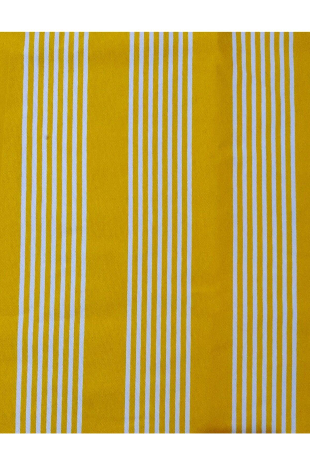 Ceylan Home Balkon Perdesi Brandası 400/250 Sarı Çizgili