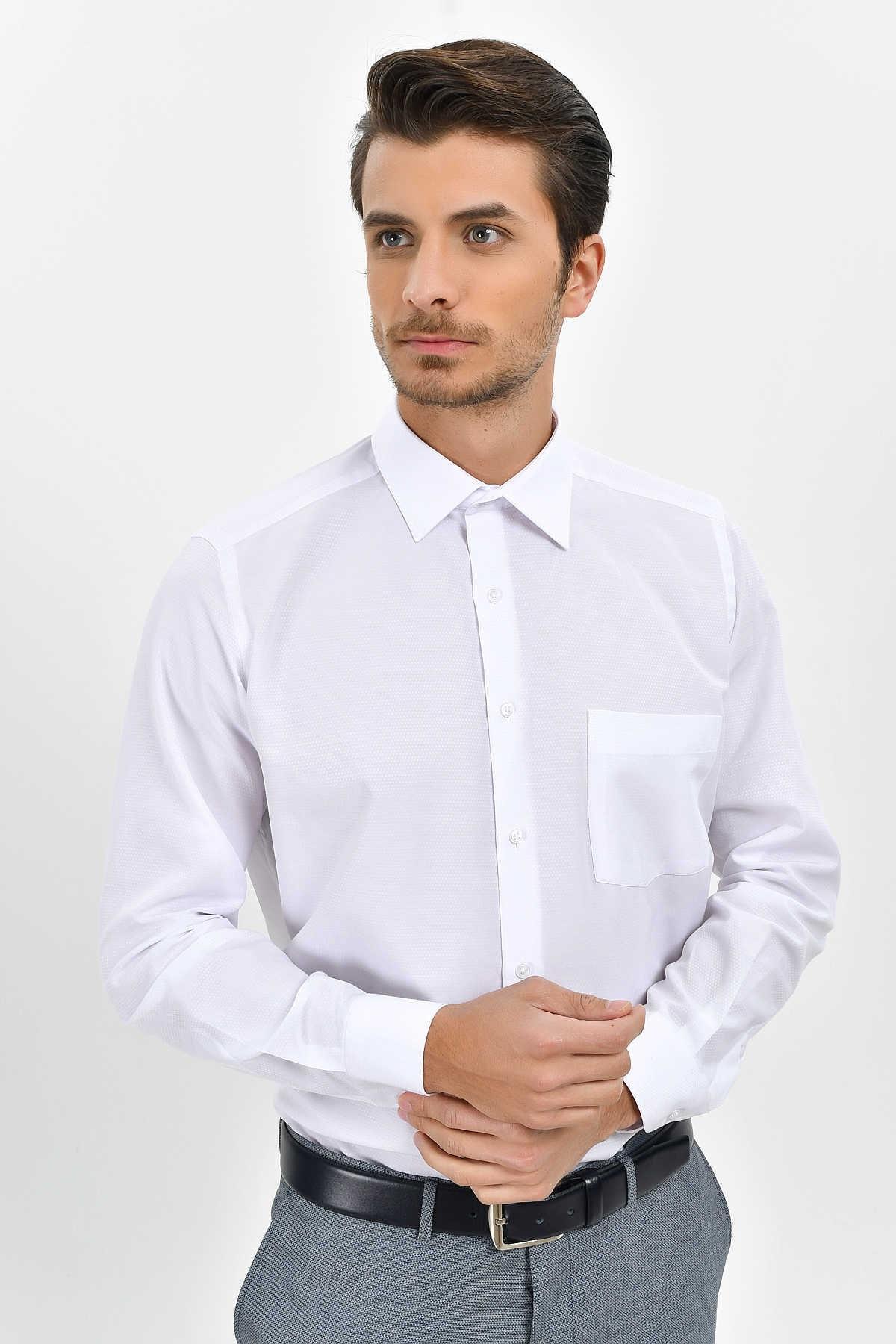 Desenli Klasik Beyaz Gömlek 19D190000156