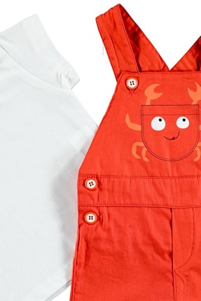 Bambaki Yaz Erkek Bebek Komik Salopet Poplin Atlet Reçme 2li Salopet 1
