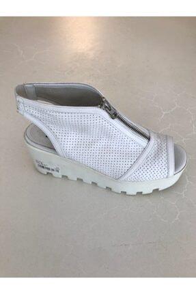 Beggi Kadın Beyaz Deri Dolgu Topuk Ayakkabı 0