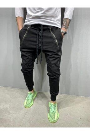 2Y PREMIUM Erkek Siyah Düğmeli Fermuarlı Jogger Pantolon 0