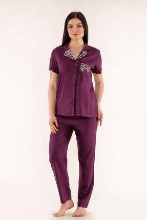 Tuba Kadın Mor Önden Düğmeli Kısa Kollu Pijama Takımı 242 1