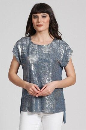 Seamoda Kolsuz Sim Baskılı T-shirt Mavi Gümüş Simli 0
