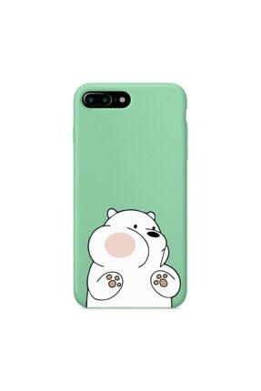 mooodcase Iphone 7 Plus Premium Lansman Pastel Mint Yeşil Telefon Kılıfı Kırmızı Yanaklı Ayıcık Desenli 0