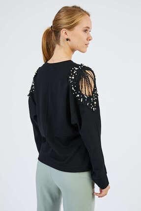 Pera Omuz Detaylı Siyah Bluz 4