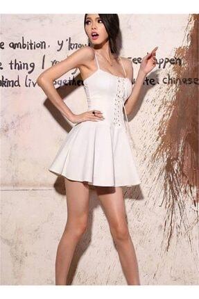 lovebox Esnek Dalgıç Kumaş Önden Bağcık Detaylı Askılı Beyaz Kiloş Elbise 0