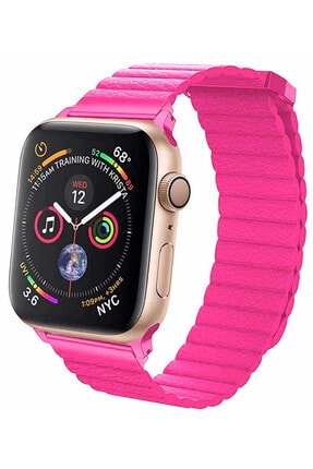 Coverzone Apple Watch Kayış 42 Mm Deri Pembe 1