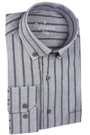 Varetta Uzun Kol Çizgili Gri Erkek Gömlek 0