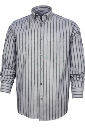 Varetta Uzun Kol Çizgili Gri Erkek Gömlek 1