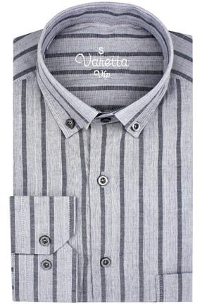 Varetta Uzun Kol Çizgili Gri Erkek Gömlek 2