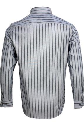 Varetta Uzun Kol Çizgili Gri Erkek Gömlek 3
