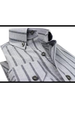 Varetta Uzun Kol Çizgili Gri Erkek Gömlek 4