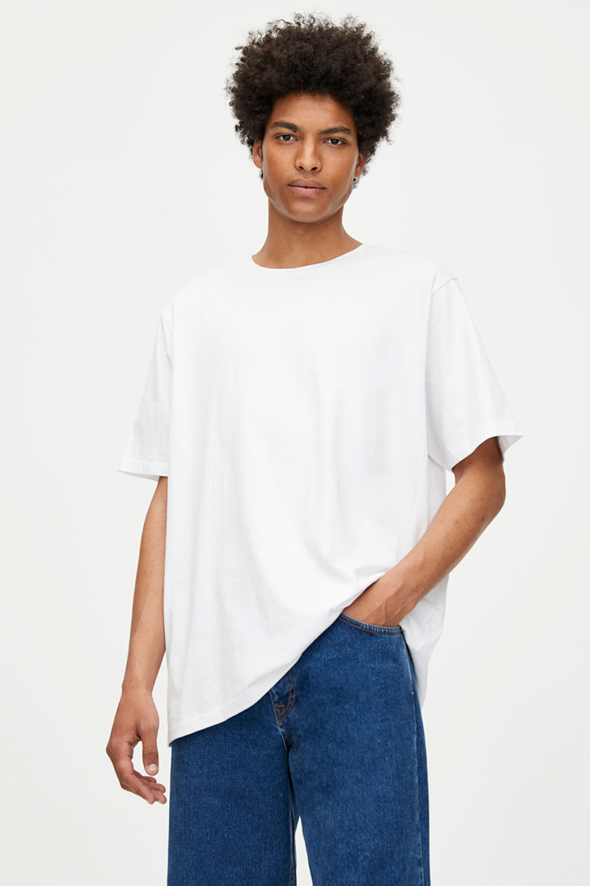 Pull & Bear Erkek Beyaz Join Life Basic T-Shirt 09244500 0
