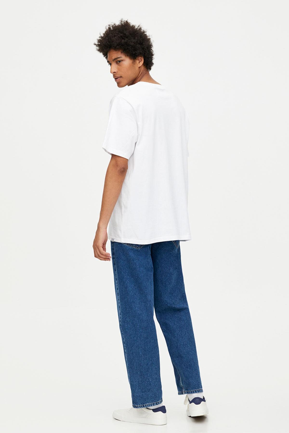 Pull & Bear Erkek Beyaz Join Life Basic T-Shirt 09244500 1