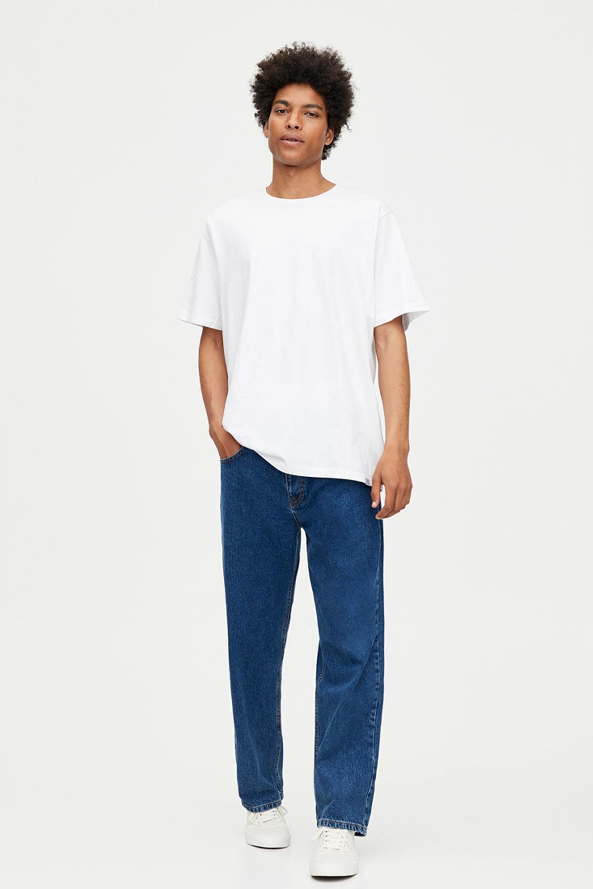 Pull & Bear Erkek Beyaz Join Life Basic T-Shirt 09244500 2