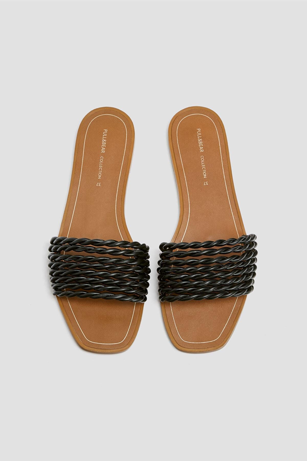 Pull & Bear Kadın Siyah Örgü Bantlı Siyah Sandalet 11557540 2