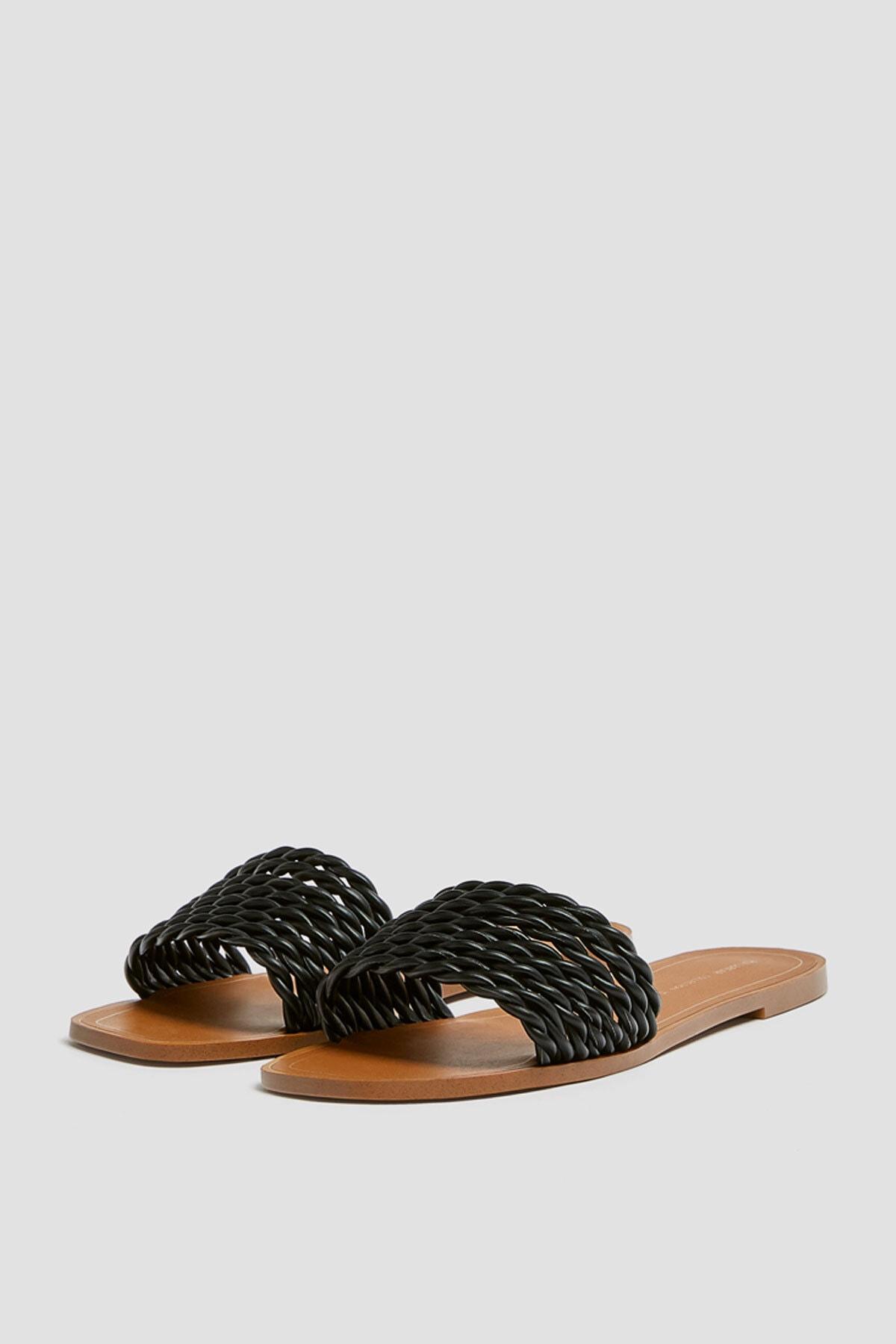 Pull & Bear Kadın Siyah Örgü Bantlı Siyah Sandalet 11557540 3