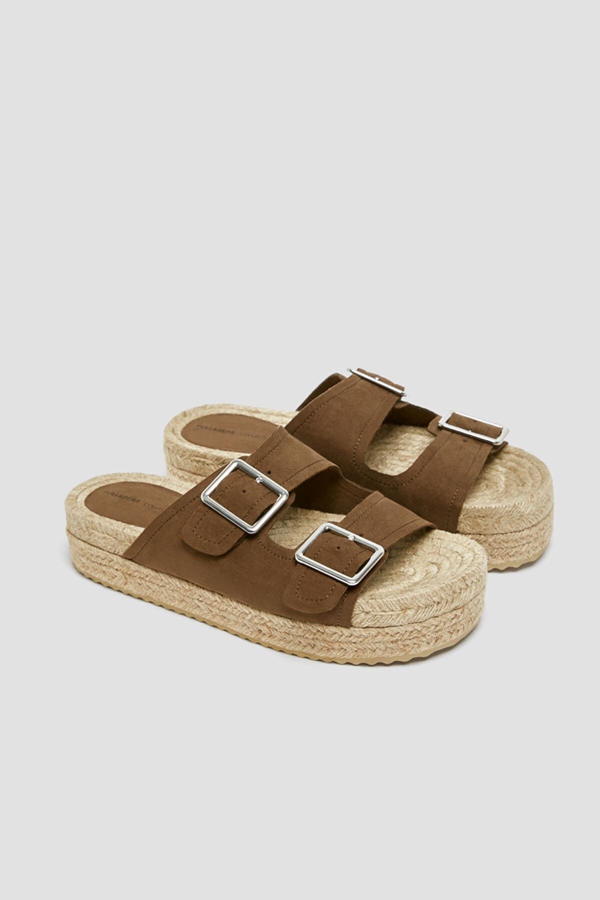 Pull & Bear Kadın Haki Tokalı Jüt Tabanlı Sandalet 11662540 4