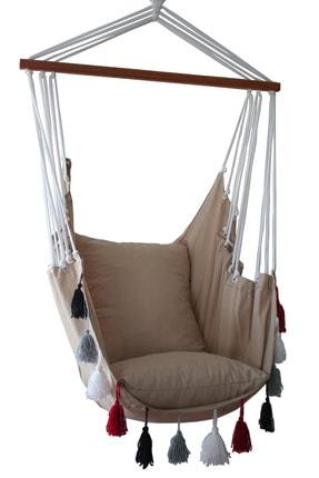 ALTINOLUK HAMAK Altınoluk Sandalye Salıncak Yeni Püsküllü ( Bej ) 2
