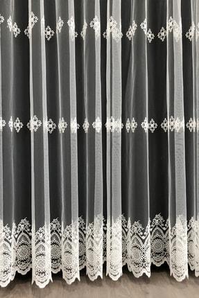 Brillant Tül Perde Tedi Işlemeli Sıralı 1'e 2 Seyrek Pile 230x260 2