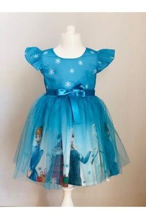 Buse&Eylül Bebe Mavi Elsa Karlar Kraliçesi Kız Çocuk Elbisesi 0