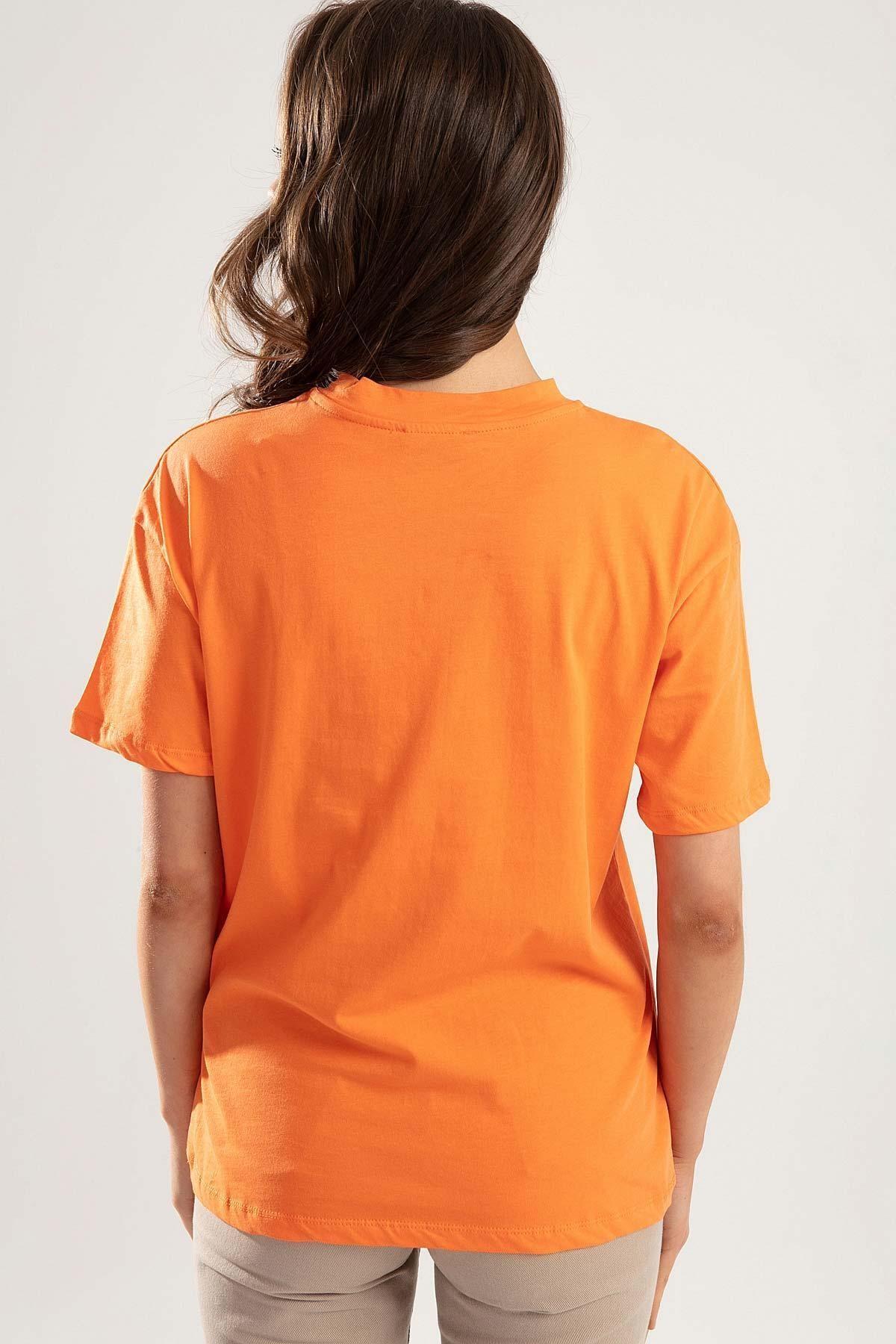 Pattaya Kadın Turuncu Dik Yaka Basic Tişört PTTY20S-701