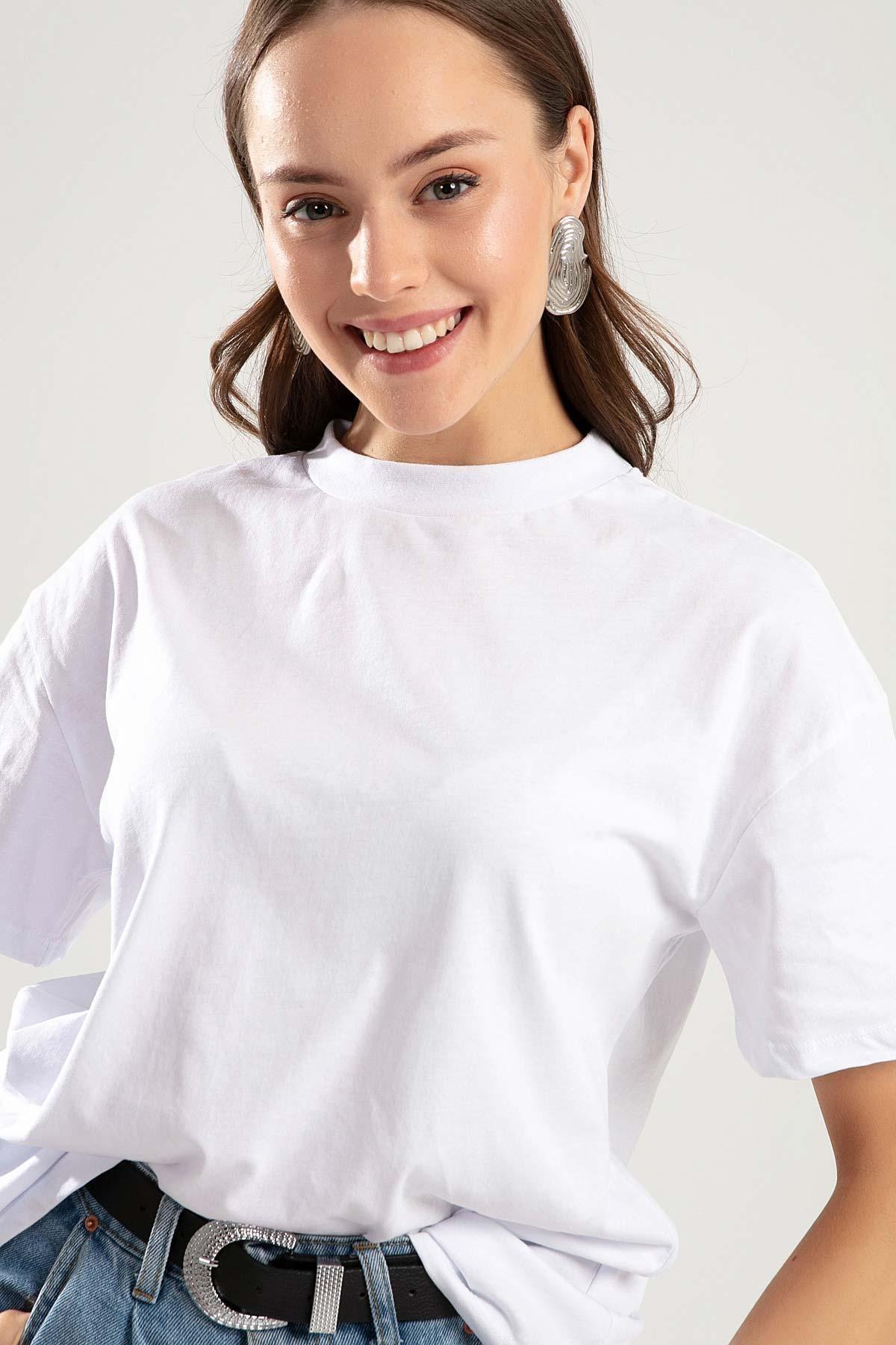 Pattaya Kadın Beyaz Dik Yaka Basic Tişört PTTY20S-701 0