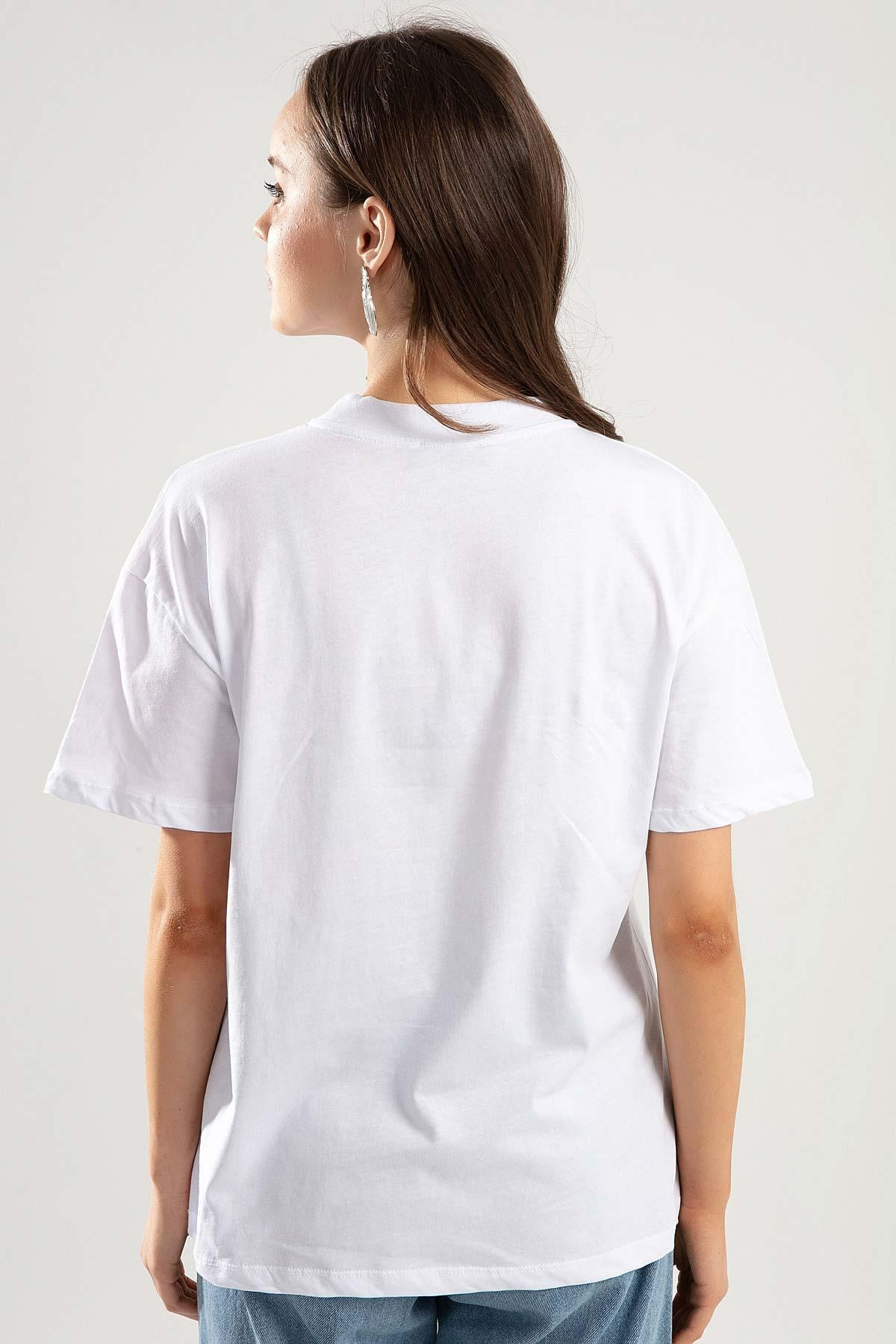 Pattaya Kadın Beyaz Dik Yaka Basic Tişört PTTY20S-701 1