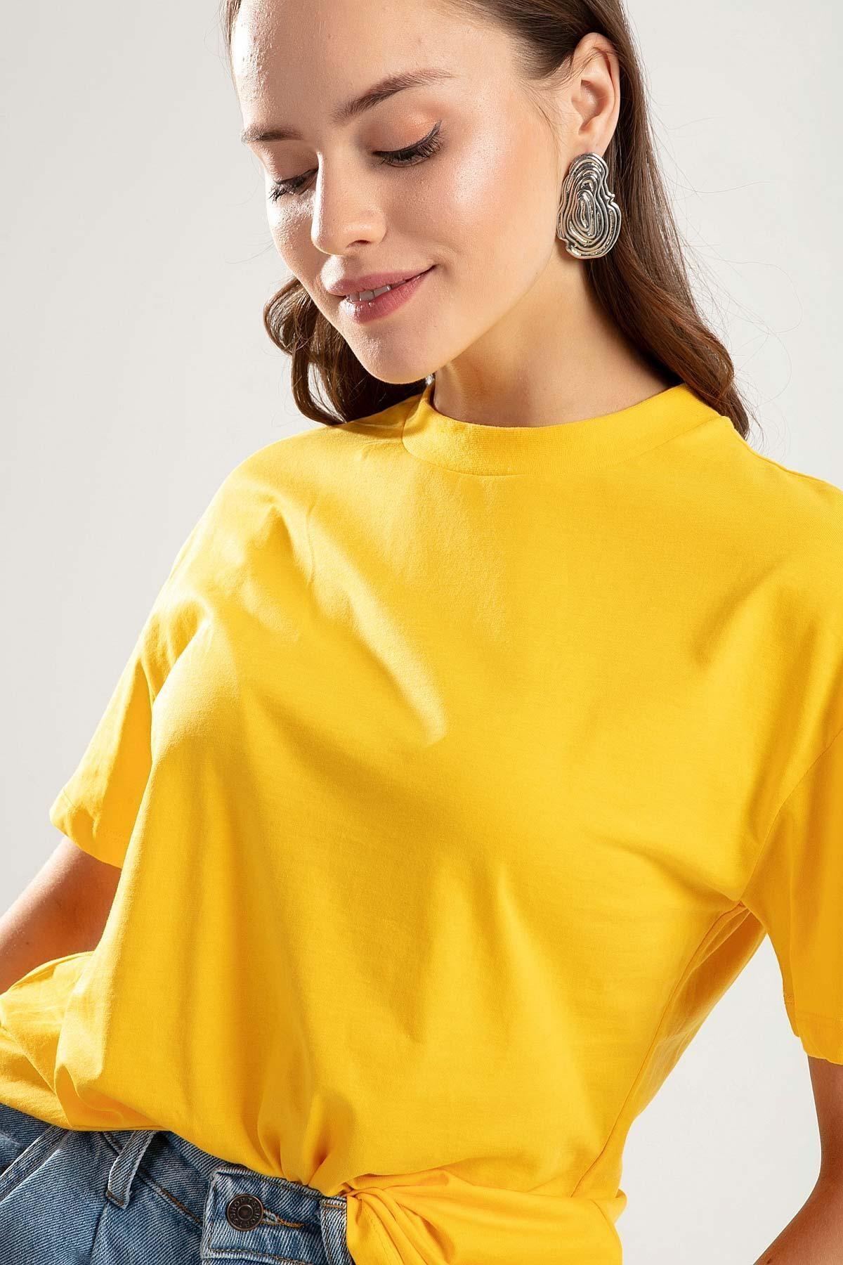 Pattaya Kadın SARI Dik Yaka Basic Tişört PTTY20S-701 1
