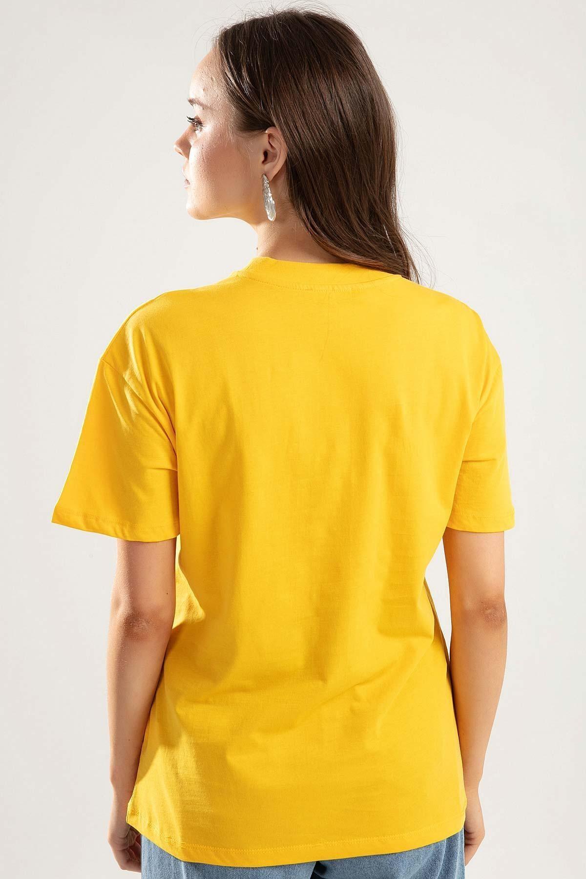 Pattaya Kadın SARI Dik Yaka Basic Tişört PTTY20S-701 2