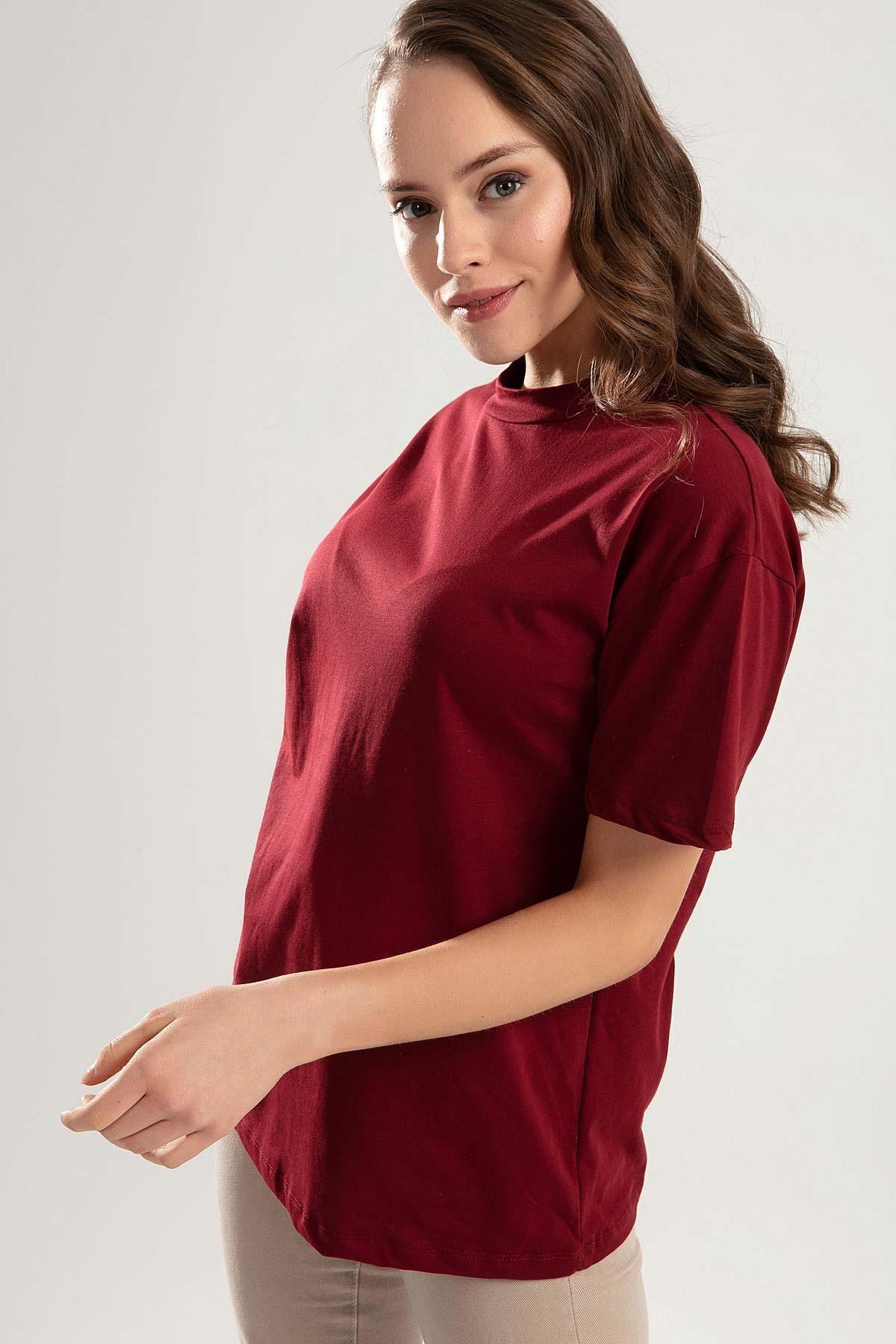 Pattaya Kadın Bordo Dik Yaka Basic Tişört PTTY20S-701 2