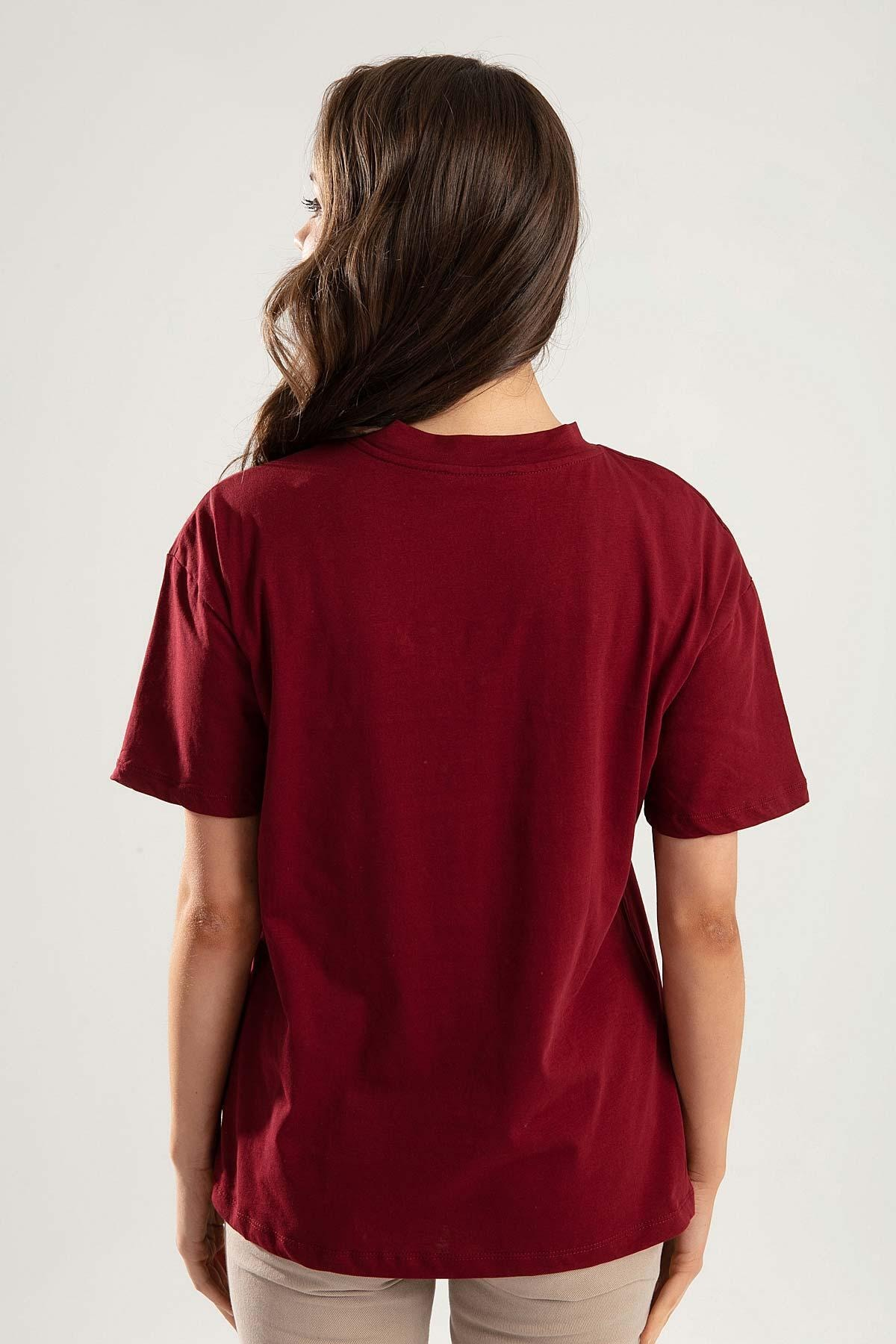 Pattaya Kadın Bordo Dik Yaka Basic Tişört PTTY20S-701 3