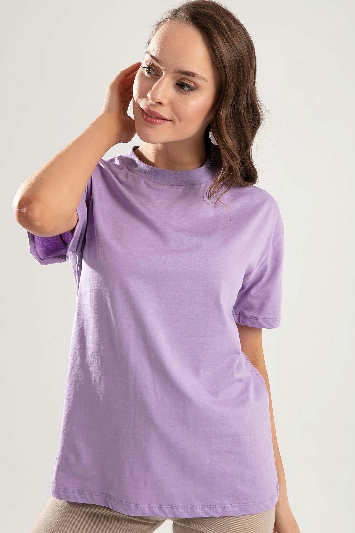 Pattaya Kadın Lila Dik Yaka Basic Tişört PTTY20S-701 0