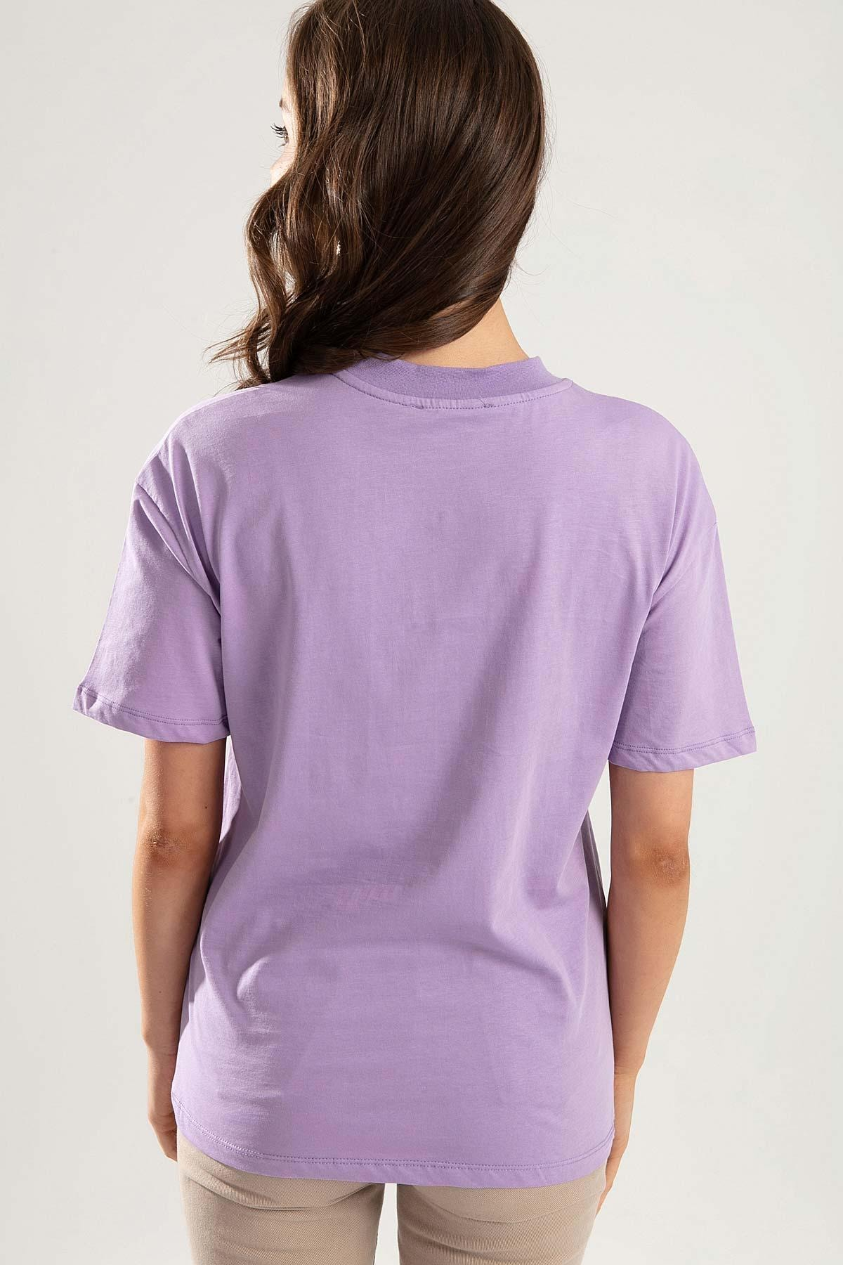 Pattaya Kadın Lila Dik Yaka Basic Tişört PTTY20S-701 3