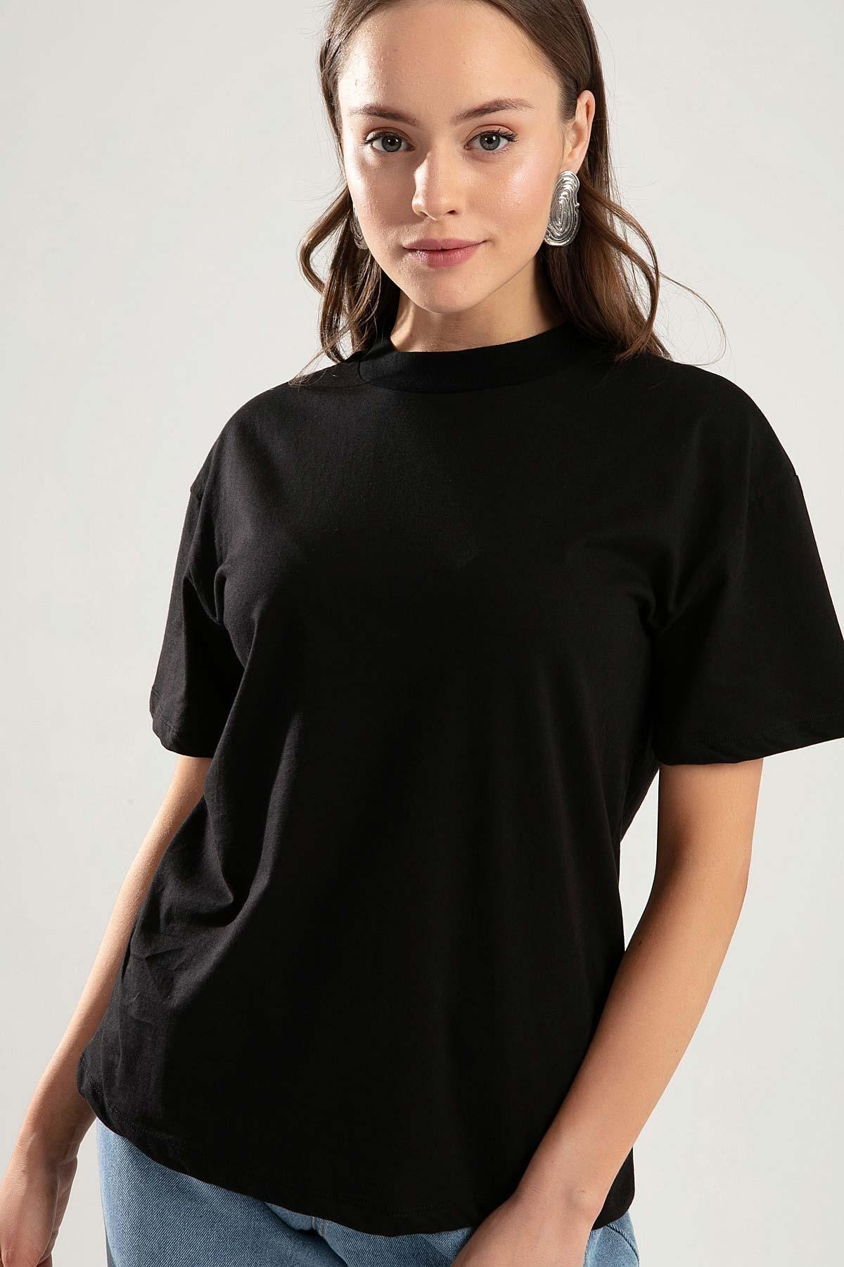 Pattaya Kadın Siyah Dik Yaka Basic Tişört PTTY20S-701 0