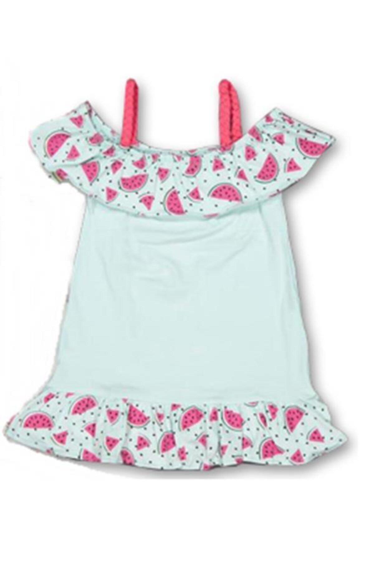 Karpuz Fırfırlı Kız Çocuk Askılı Elbise Salopet Yşl 1|2|3|4 Yaş